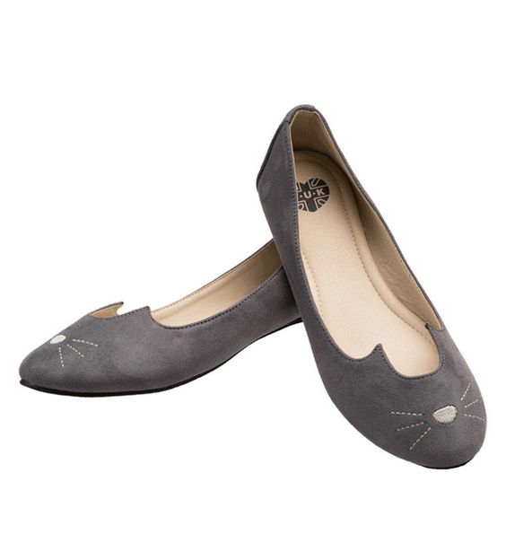T.U.K. Shoes, Grey Sophistakitty Flats, $60.00, available at NYLONshop.