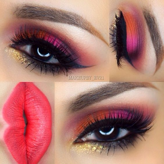 "@makeupby_ev21 on Instagram: "" Hey loves! Here's a fun and bright pink and orange look I did last night using @morphebrushes eyeshadow pa..."