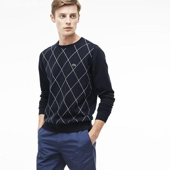 Camisola decote redondo em jersey com losangos impressos