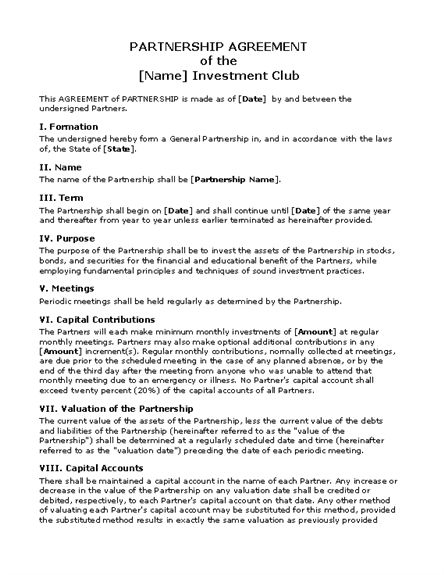 Printable Sample Partnership Agreement Template Form WHFY - month to month rental agreement form