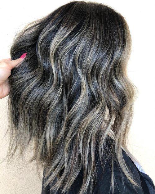 Subtle Ash Highlights On Dark Brunette Base Brunette Balayage Hair Hair Styles Balayage Brunette