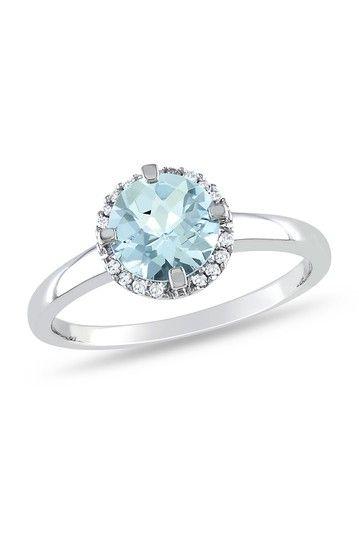 10K White Gold Round Pave Diamond & Aquamarine Ring
