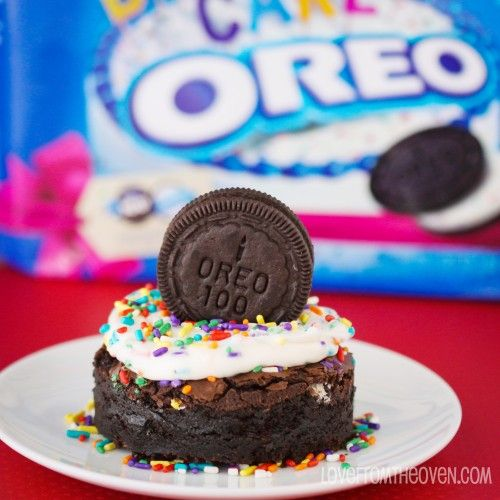 birthday cake oreo brownies! i bought the last four packages of the special edition birthday cake oreos at walmart because i knew they'd be great for baking with!
