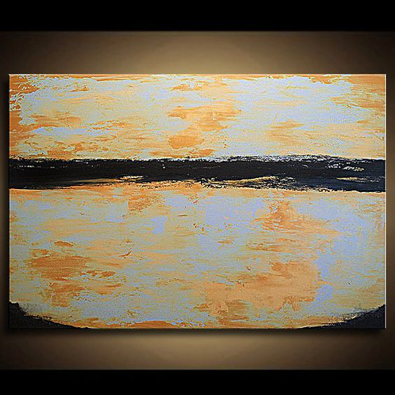 Abstract Painting Original Large Landscape by paintallnightstudios, $175.00