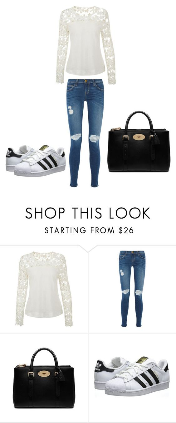 """""""For school"""" by ekarlsson ❤ liked on Polyvore featuring Current/Elliott, Mulberry and adidas Originals"""