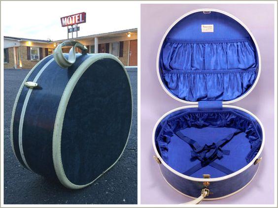 1950's Vintage Marbled Blue & White Round by HermannsAttic on Etsy