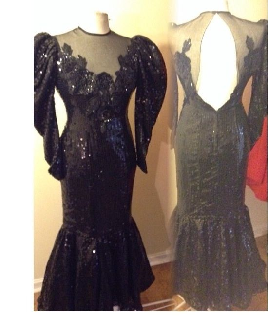Amazing 1980s sequins cocktail gown dress in excellent condition best fit size 7/8