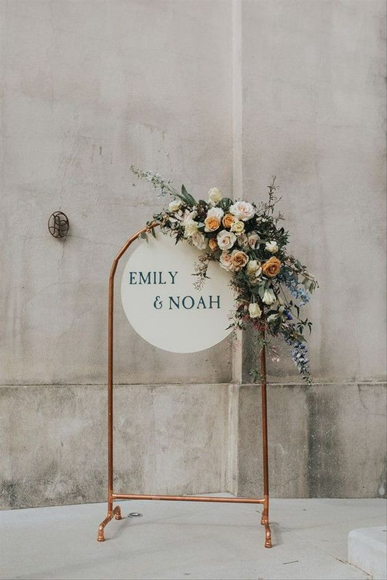 Rustic Floral Unplugged Wedding Sign