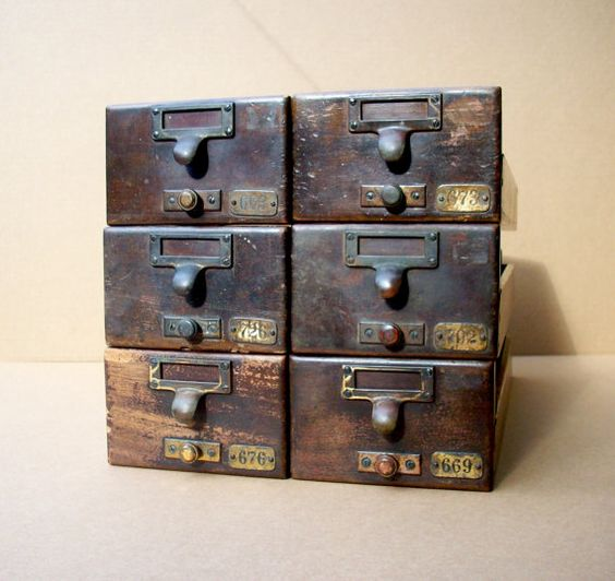 Vintage Library Card Catalog Drawers with Label by urgestudio, $150.00