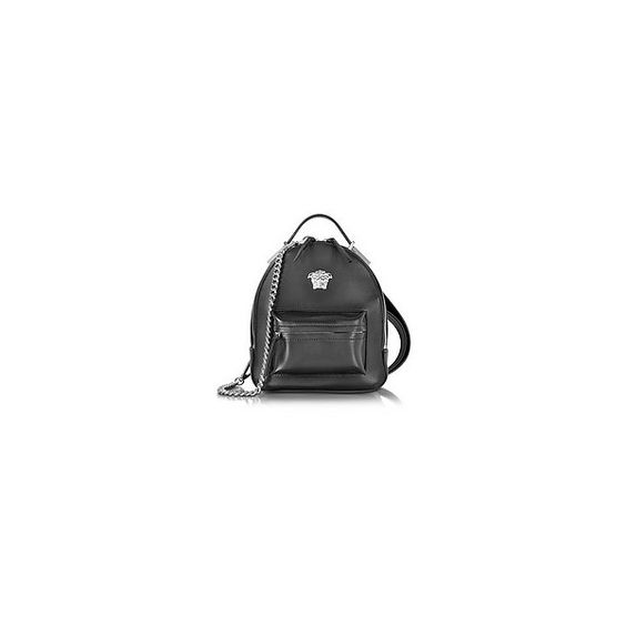 Versace Handbags Palazzo Black Leather Medusa Backpack (7.040 BRL) ❤ liked on Polyvore featuring bags, backpacks, leather zipper backpack, backpack bags, leather backpack bag, leather rucksack and leather zip backpack