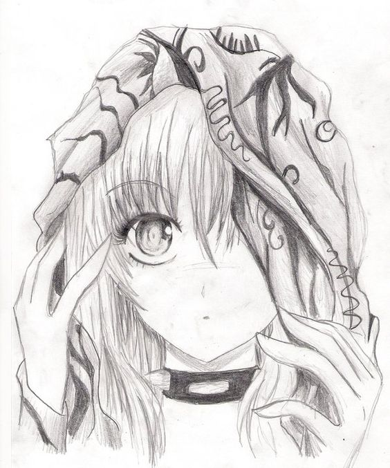 anime girl pencil sketch she usually has red eyes and red. Black Bedroom Furniture Sets. Home Design Ideas