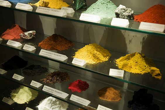 Pigments on display at the Vasa Museum showing the colorful minerals and elements used in the exterior finishes on the Vasa.