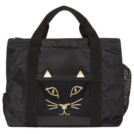 Charlotte Olympia Purrrfect Gym Bag ($460) ❤ liked on Polyvore featuring bags, carryall bag, zip bag, embroidered bags, multi pocket bag and charlotte olympia