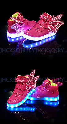 Kids Boys Girls Colorful LED Light Up Sports Velcro Sneakers Wings Dance Shoes