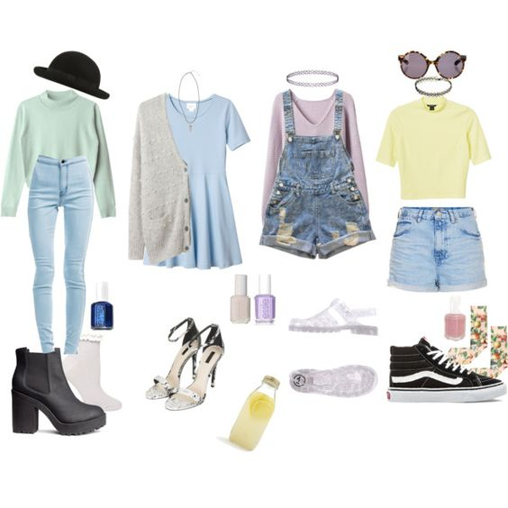90s Pastel Grunge by stellaluna899 on Polyvore featuring Monki, Band of Outsiders, Topshop, Strathcona, Dorothy Perkins, Vans, JuJu, H&M, Proenza Schouler and Essie