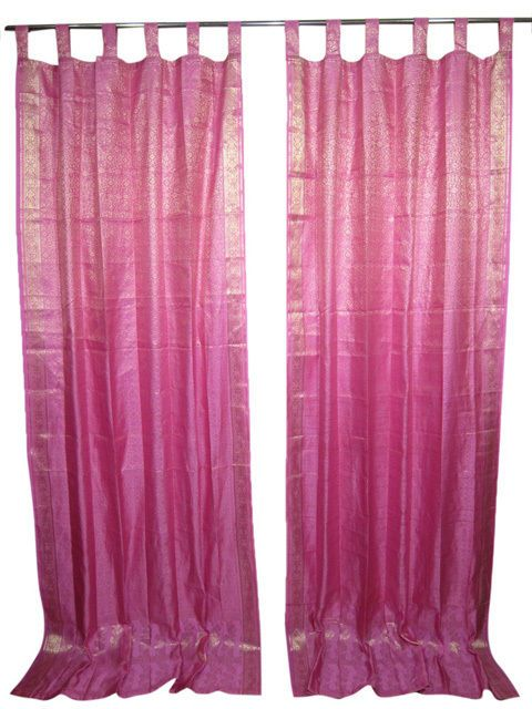 Pine Green India Silk Sari Curtain Drapes Panel Window Treatment ...