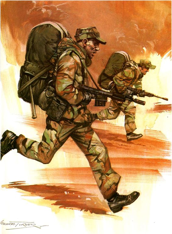 SAS troops charging in the Falklands