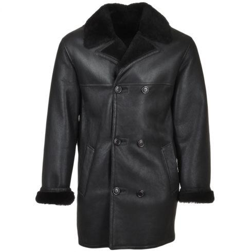 Ashwood Double Breasted Leather Sheepskin Coat Black : Corleone