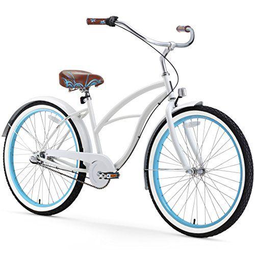 Sixthreezero Womens 3 Speed 26 Inch Beach Cruiser Bicycle Be White Blue For Sale Beach Cruiser Bicycle Cruiser Bicycle Cruiser Bike