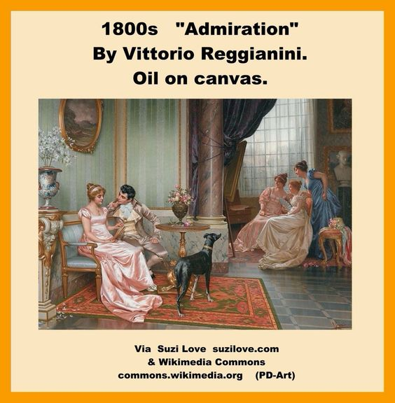 "1800s ""Admiration"". By Vittorio Reggianini. Oil on canvas. #Regency #Art"