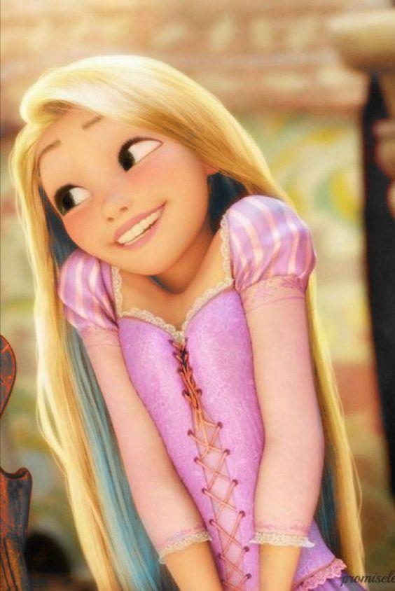 Inspired by Rapunzel: Natural, fresh look. Sleek hair