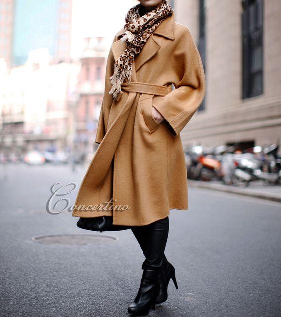 Pea Coat Oversized Camel Womens Winter Wool Coat Wool Long Jacket
