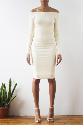 Ekineyo Rib-Knit Off-The-Shoulder Dress