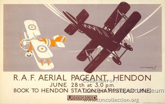 R.A.F. Aerial Pageant Hendon June 28th at 3.0 pm : Book to Hendon Station (Hampstead Line) by Underground