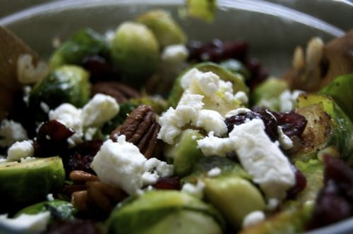 brussels, goat's cheese and nuts