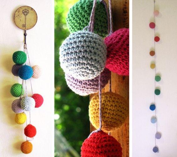 Guirnalda con bolitas tejidas a crochet br colores y for Manualidades con bolitas