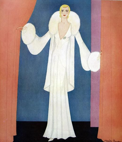 Fashion plate by Gordon Conway, showing an elegant evening gown in heavy white crepe with a princess line skirt matched with a white chiffon-velvet wrap trimmed with white fox fur.