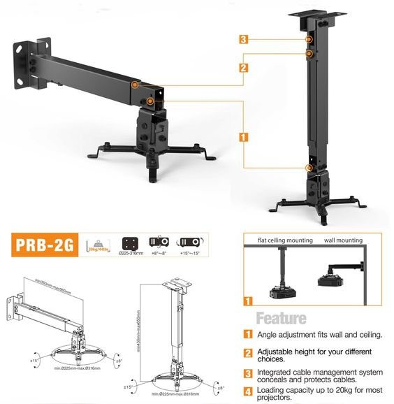 Universal Wall & Ceiling Projector Bracket, Support up to 20kgs/44lbs - PrimeCables®