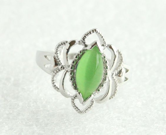 Vintage Art Nouveau Sterling Filigree Green Opal Glass Ring 925 Silver by CamanoIslandVintage, $38.50