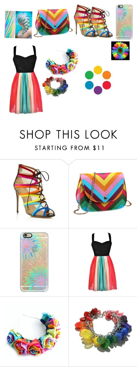 """Rainbows!!!"" by lbrownmonson ❤ liked on Polyvore featuring moda, Salvatore Ferragamo, Casetify, women's clothing, women, female, woman, misses ve juniors"