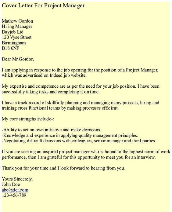 Cover Letter Project Manager  Hipcv Resume Tips  Articles