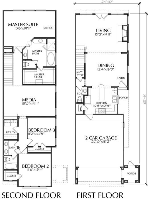 Townhouse Plan D7005 1A || Invert. Make my typical changes ... on townhouse floor plans with garage, small townhouse plans garage, narrow duplex with garage,