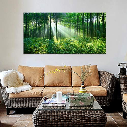 Canvas Wall Art Living Room Green Forest Wall Decor Nature