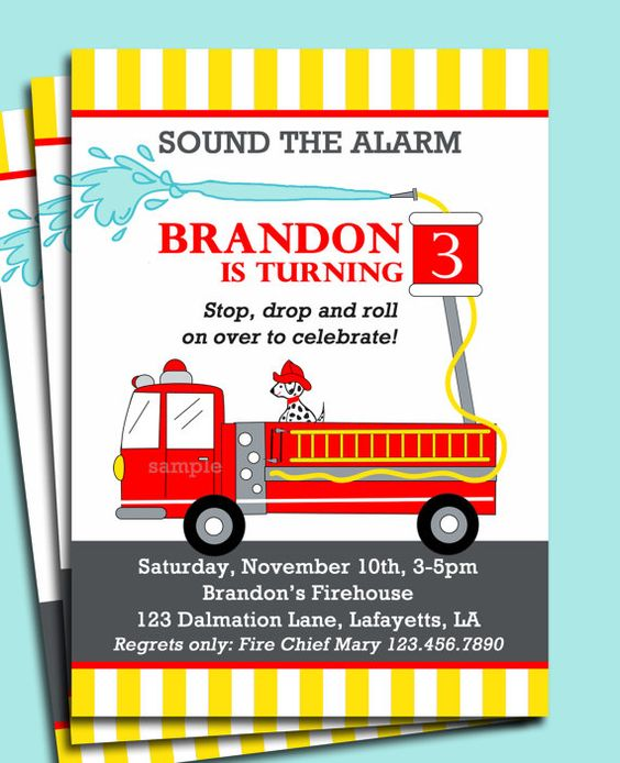 FireTruck Invitation Printable or Printed with FREE SHIPPING – Fireman Party Invitations