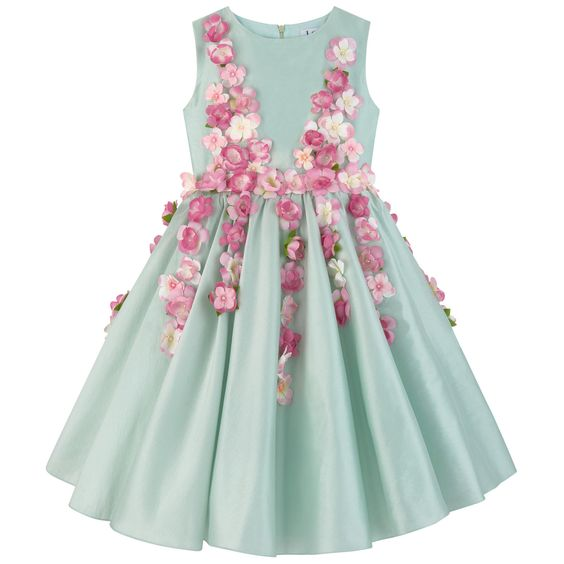 Cotton taffeta Percale lining Synthetic tulle Hourglass cut Slim fit waistband Darts in the back Puff shape at the bottom Tulle patch on the lining Crew neck Gathered waistband Invisible zipper at the back Strings to tie in the back Flowers all-over the front and back Fancy pearls - $AU 1,048