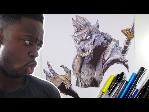 Awesome Looking Werewolf Ballpoint Pen Drawing Dire Fortnite