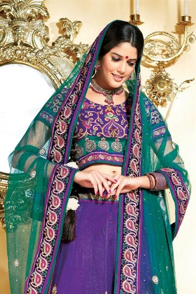 Attractive purple & green net lehenga choli