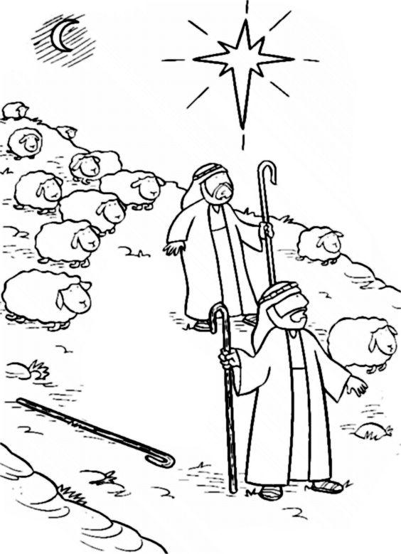 herders in het veld kerst advent coloring