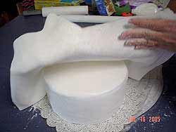 Marshmallow fondant.  I use this every year for Malea's cakes.