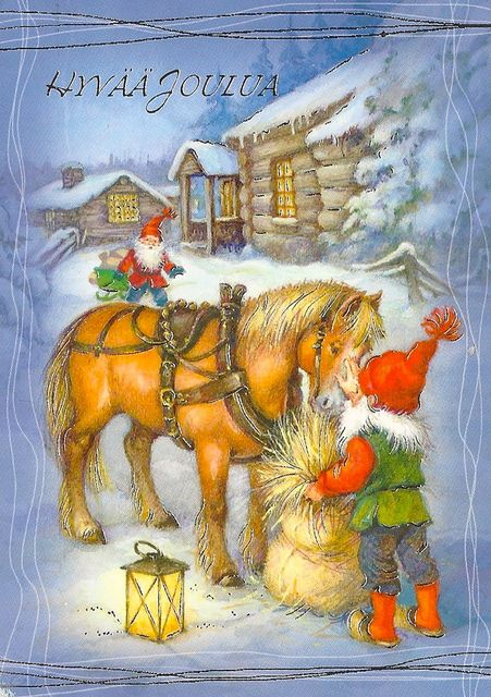 Christmas - Finland, Gnome   with Horse snow fairy elf sleigh wheat snow  tree lantern night