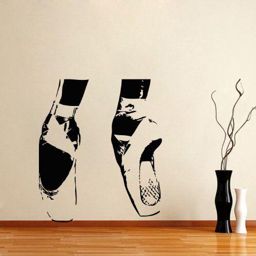 Housewares vinyl decal ballerina ballet home wall art for Ballerina wall mural