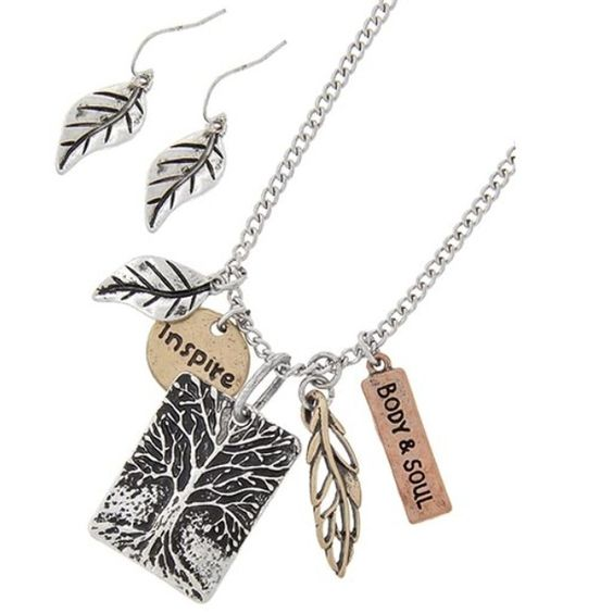 "TREE OF LIFE INSPIRE Necklace Set Tri-tone  / Metal / Fish Hook (earrings) / Leaf & Message / Tree Pendant / Necklace & Earring Set •   ChiqStyle No : 00509800 •   LENGTH : 17 1/2"" + EXT •   PENDANT : 1"" X 1 1/2"" •   EARRING : 1 1/8""  •   BURNISHED TRI TONE Jewelry Necklaces"
