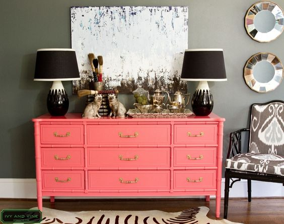 Gorgeous coral chinoiserie dresser against dark grey wall - WANT!