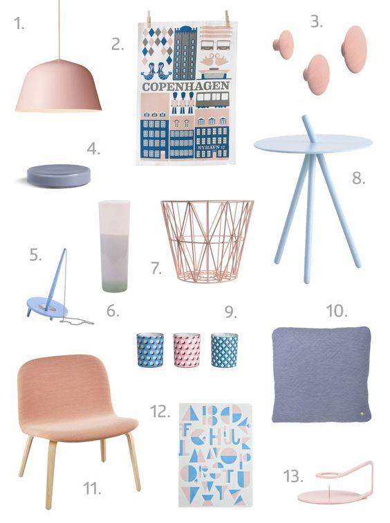 How to add touches of the Pantone Colour of the Year 2016 Rose Quartz & Serenity to your home with Scandinavian design // ingridesignblog.com: