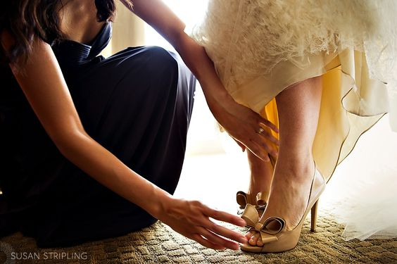 Mom helping me put my shoes on...cause I won't be able to once I get my dress on ;)