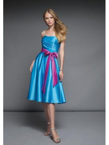 Satin Strapless Softly Curved Neckline Knee-length Bridesmaid Dress